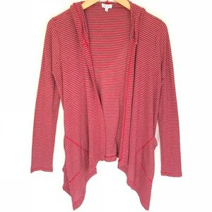 Splendid Thermal Hooded Stripe Open Cardigan S